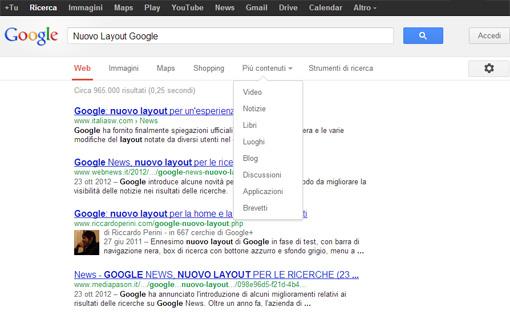 Nuovo design serp google.it