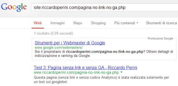 Google indicizza pagina senza link