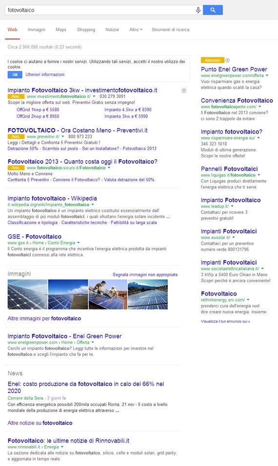 Fotovoltaico su Google (25/11/2013)