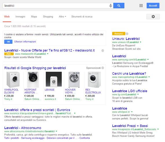 Lavatrici su Google (25/11/2013)