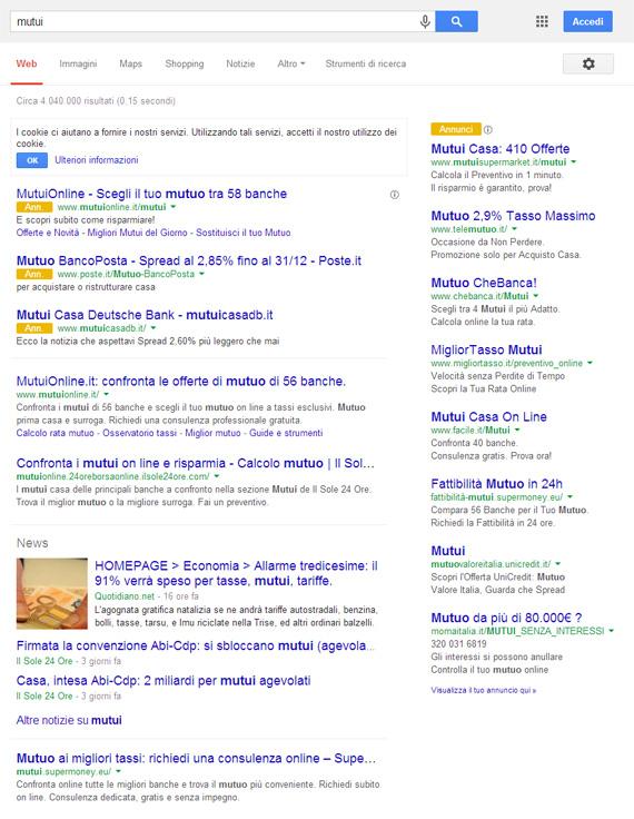 Mutui su Google (25/11/2013)