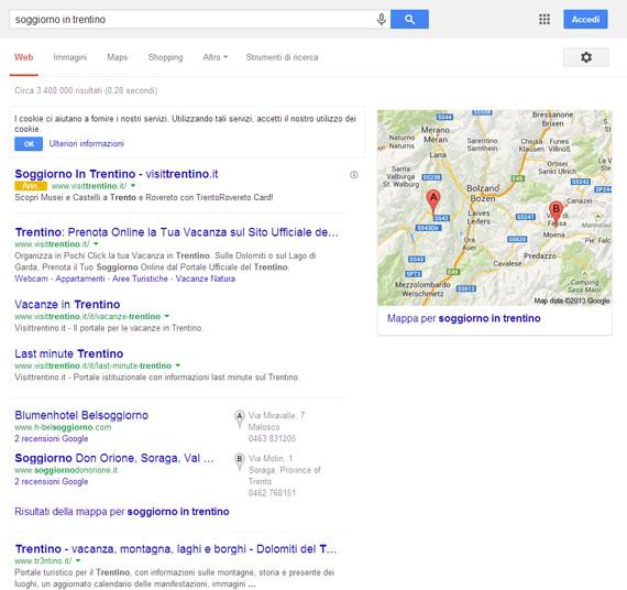 Soggiorno in Trentino su Google (25/11/2013)