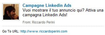 Annuncio Linkedin Ads Riccardo Perini