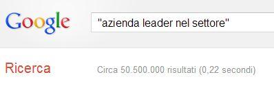 Azienda leader nel settore, ricerca google 09/11/2012