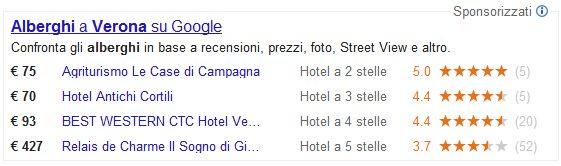 Box Google Hotel Finder in serp con voti e stelle (hotel verona)