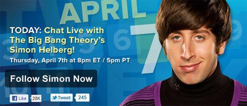 CBS Tweet Week: Simon Helberg (Howard Wolowitz di The Big Bang Theory)