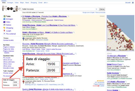 Date di Viaggio su Google Italia in SERP per Hotel (09/06/2011)