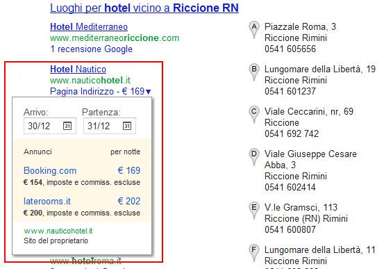 Tendina Date di Viaggio Google SERP Locale
