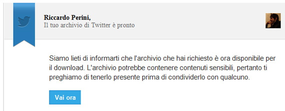 E-mail Twitter archivio tweet