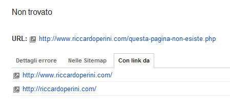 Errore 404 Google Webmaster Tools con link da