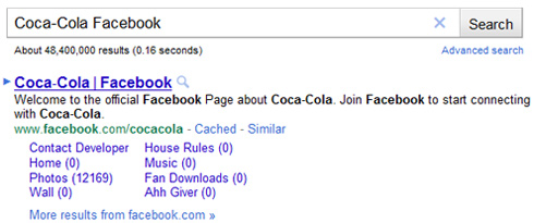 Google sitelinks per Facebook Pages