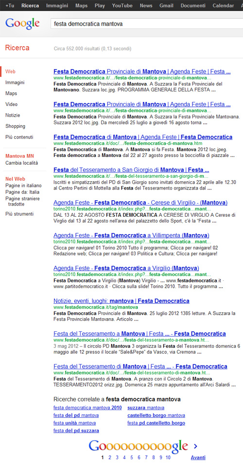 Festa Democratica Mantova su Google.it - SERP 1