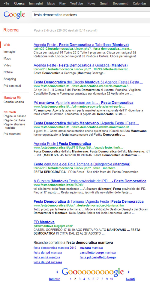 Festa Democratica Mantova su Google.it - SERP 2