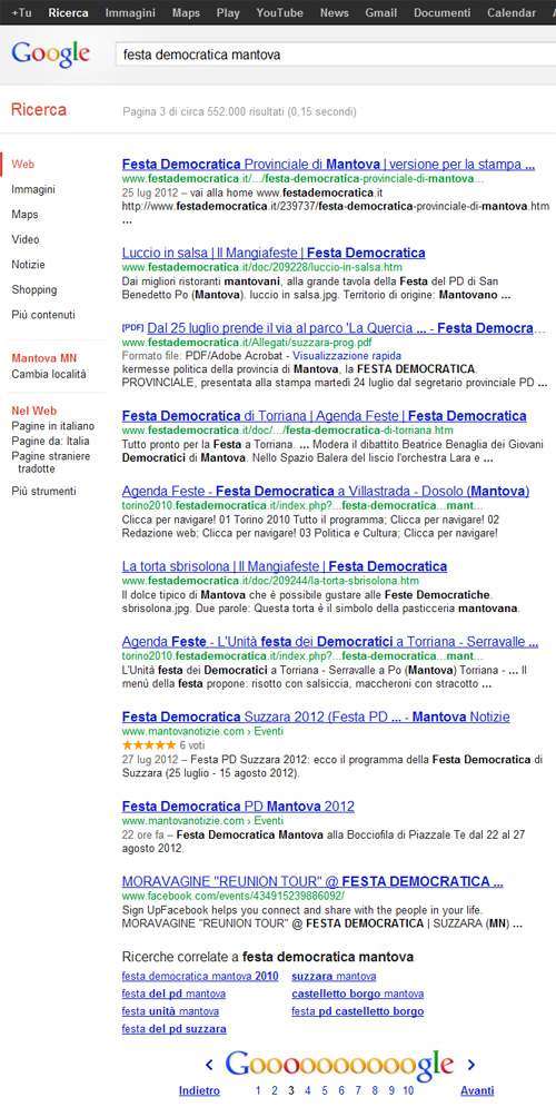 Festa Democratica Mantova su Google.it - SERP 3