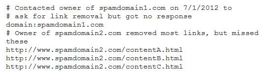 File Rinnega Link nei Google Webmaster Tools