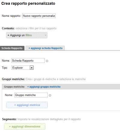 Google Analytics V5: rapporti personalizzati