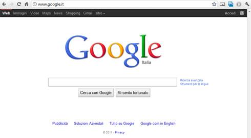 Barra di Navigazione Nera su Google