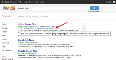 Google Siti Bloccati - Blocca tutti i risultati di ... in SERP (21/10/2011)