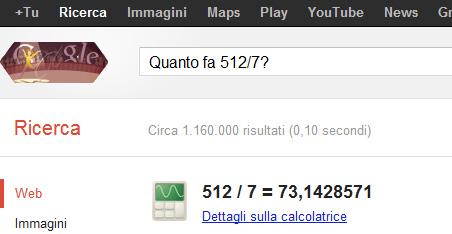 Box calcolatrice su Google (Quanto fa 512 diviso 7?)