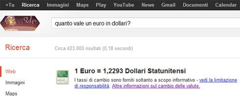 Box conversione da euro a dollaro su Google (Quanto vale un euro in dollari?)