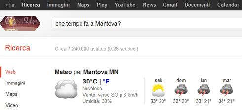Box previsioni meteo su Google (Che tempo fa a Mantova?)