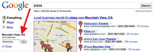 cambiare località ricerca Google colonna sinistra