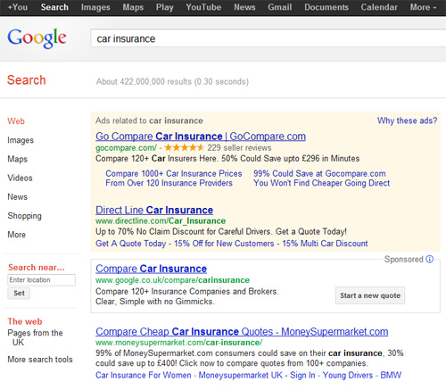 Ricerca car insurance su google.co.uk