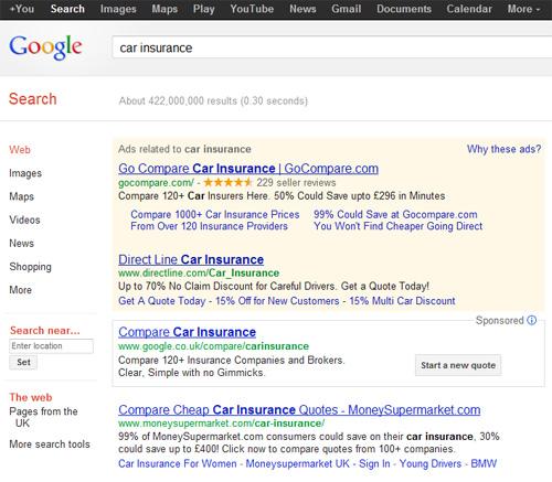 Ricerca car insurance su google.co.uk