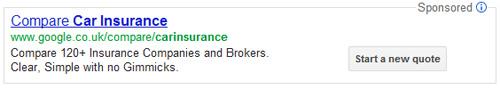 Annuncio sponsorizzato Google confronto assicurazioni auto