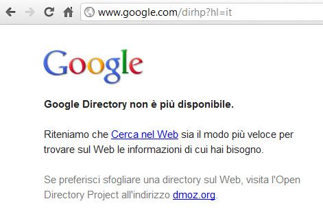 Google Directory non è più disponibile.