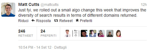 Matt Cutts su Twitter Google Diversità Domini
