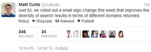 Matt Cutts su Twitter Google Diversità Domini