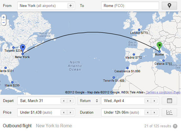 Google Flight Search USA - Italia