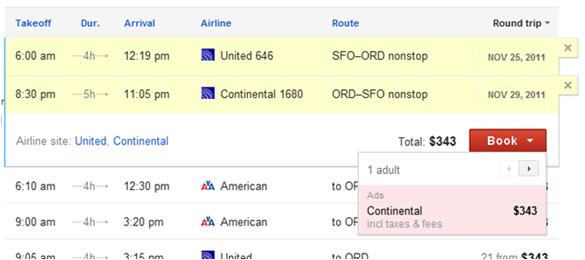 Google Flight Search, prenota biglietto aereo