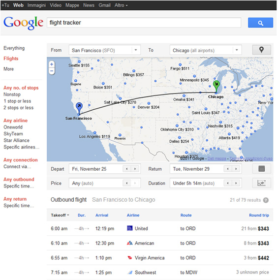 Google Flight Search, ricerca volo aereo