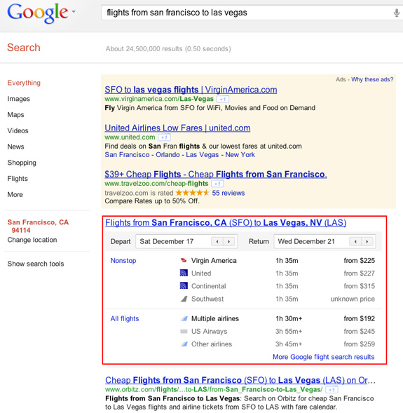 Google Flight Search in SERP su google.com