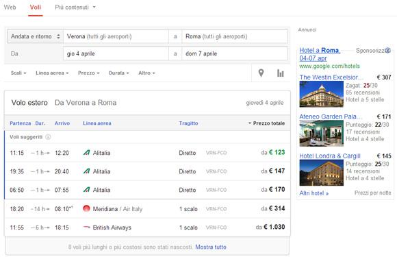 Google ricerca volo e hotel