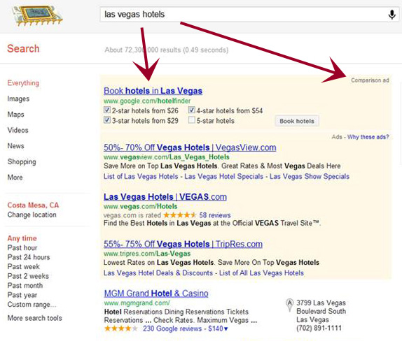Google Hotel Finder Comparision Ad in SERP sopra Adwords