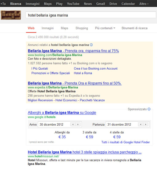 Google Hotel Finder in serp in Italia su google.it