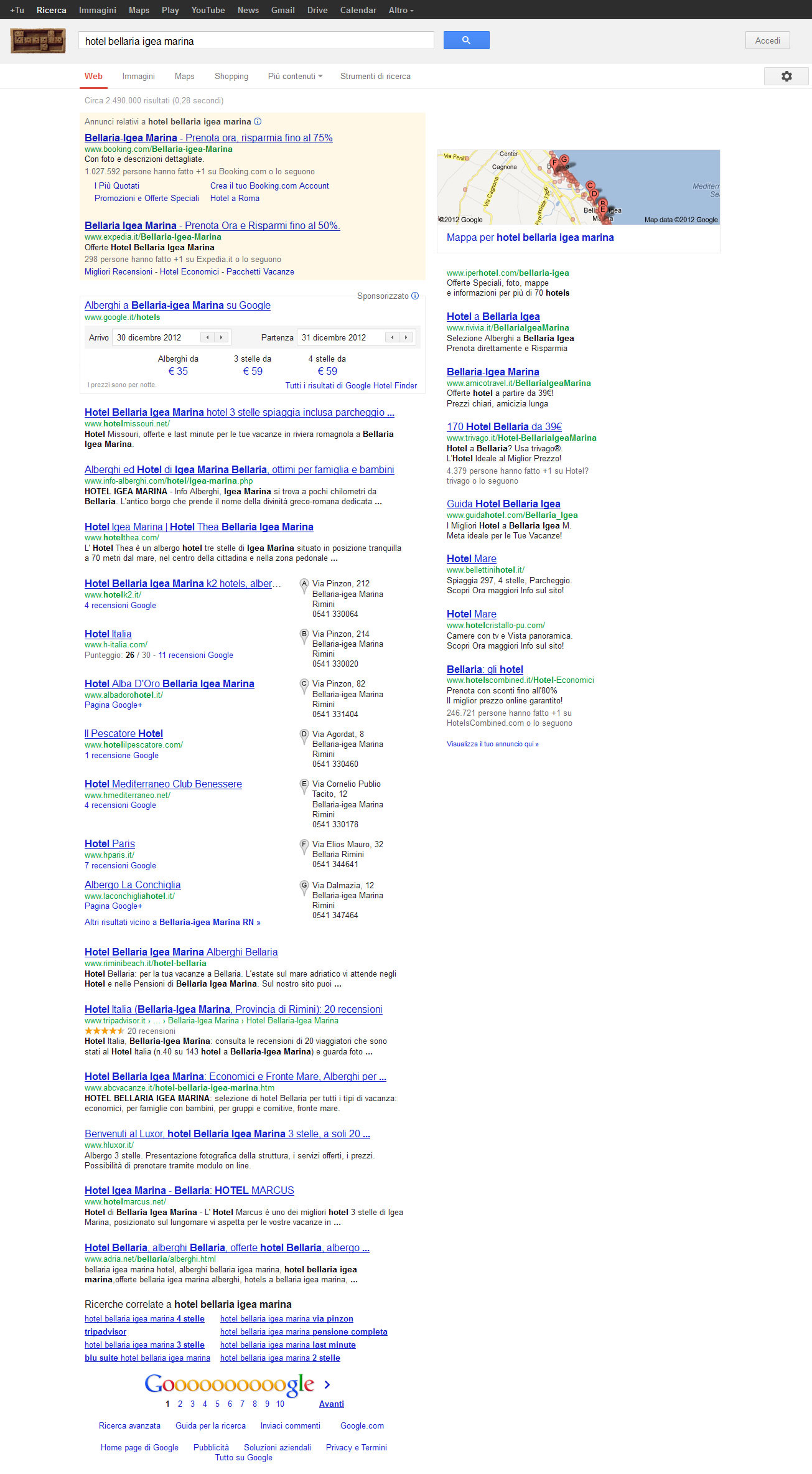 Google Integra Hotel Finder In SERP