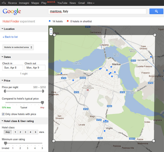 Google Hotel Finder in Italia