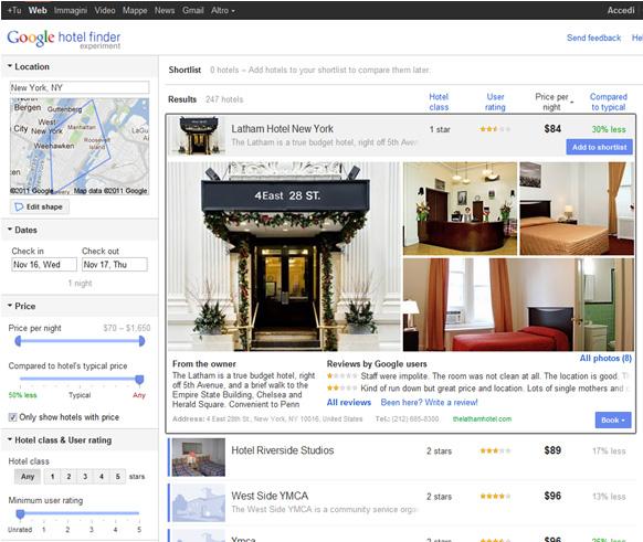 Google Hotel Finder, scheda albergo