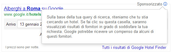 Google Hotel Finder sponsorizzato