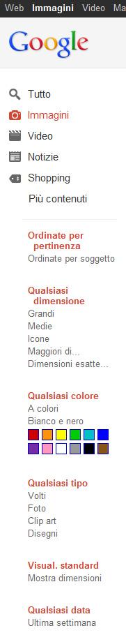 menu Google Immagini