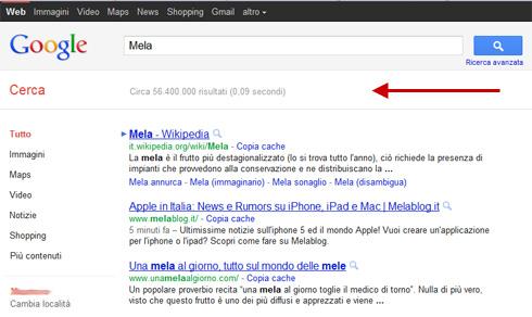 Numero di risultati della ricerca su Google (nuovo layout, 08/09/2011)