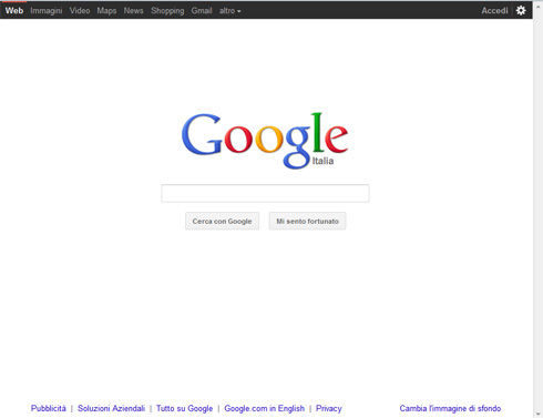 Nuova grafica home Google.it
