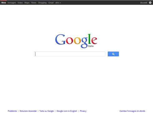 Nuova home google con bottone ricerca azzurro