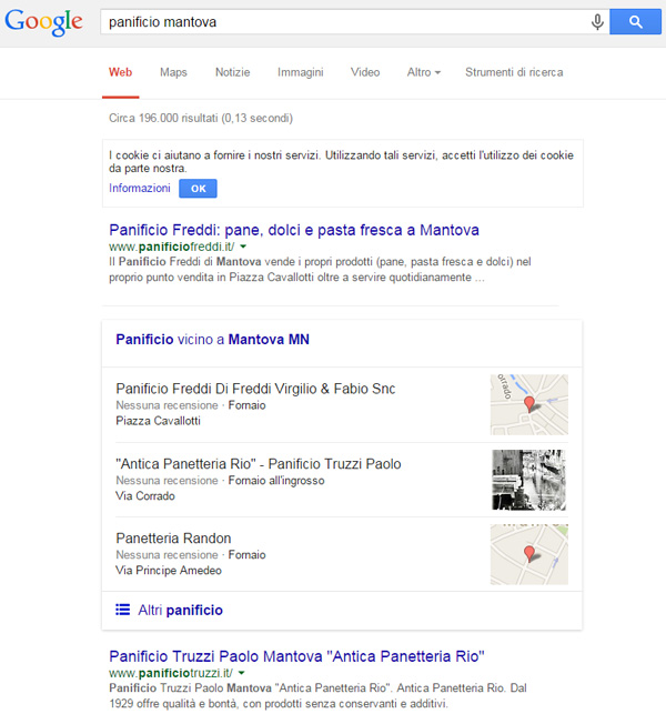 Google Local Pack panificio Mantova 2015