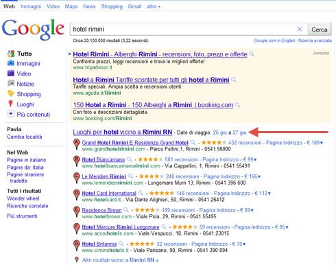 Google Date di Viaggio di fianco box Google Places (Hotel Rimini)