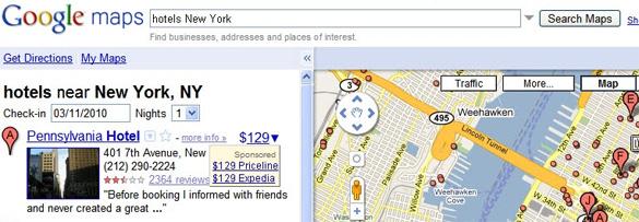 Google Maps prezzo hotel (22/03/2010)